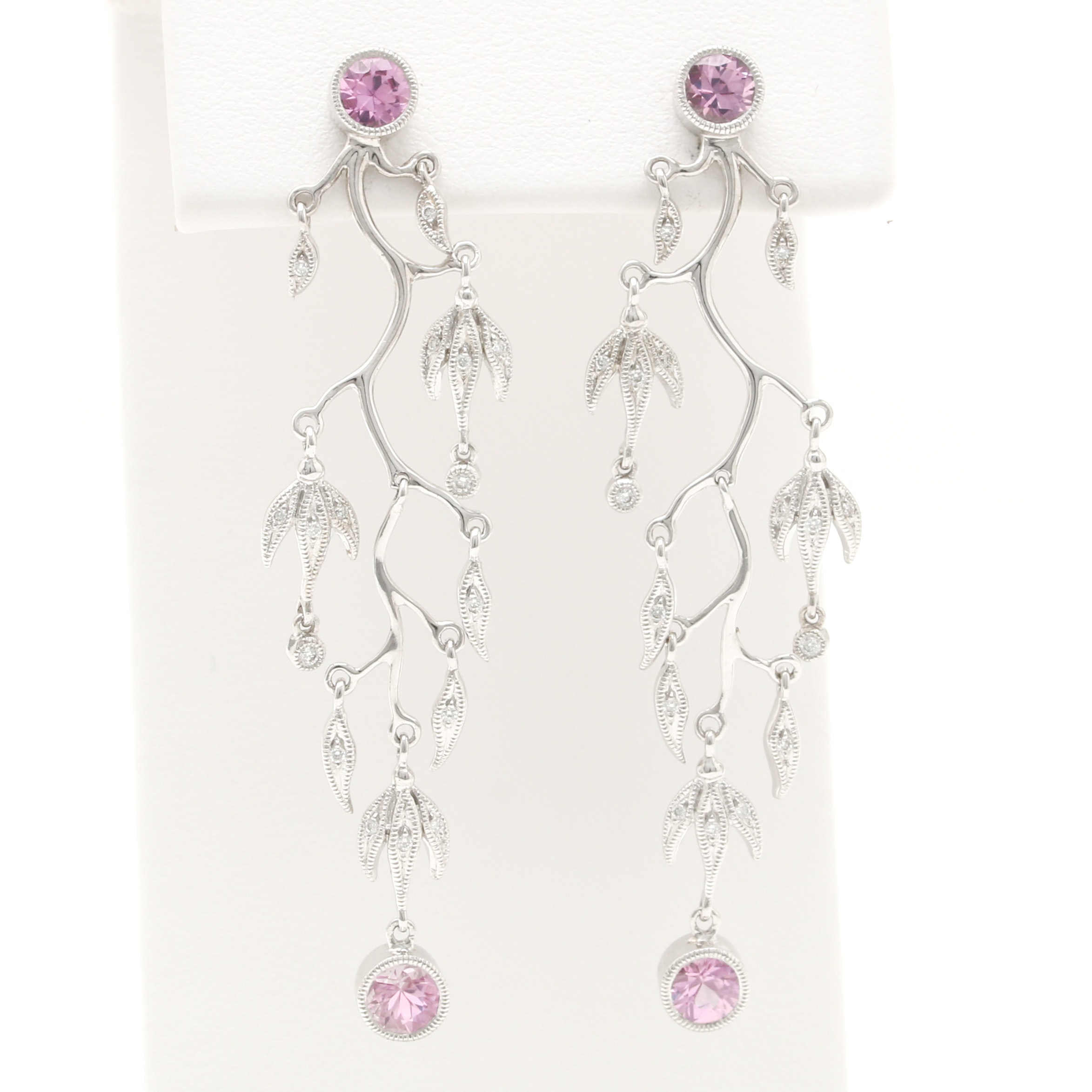 18K White Gold Pink Sapphire and Diamond Foliate Dangle Earrings