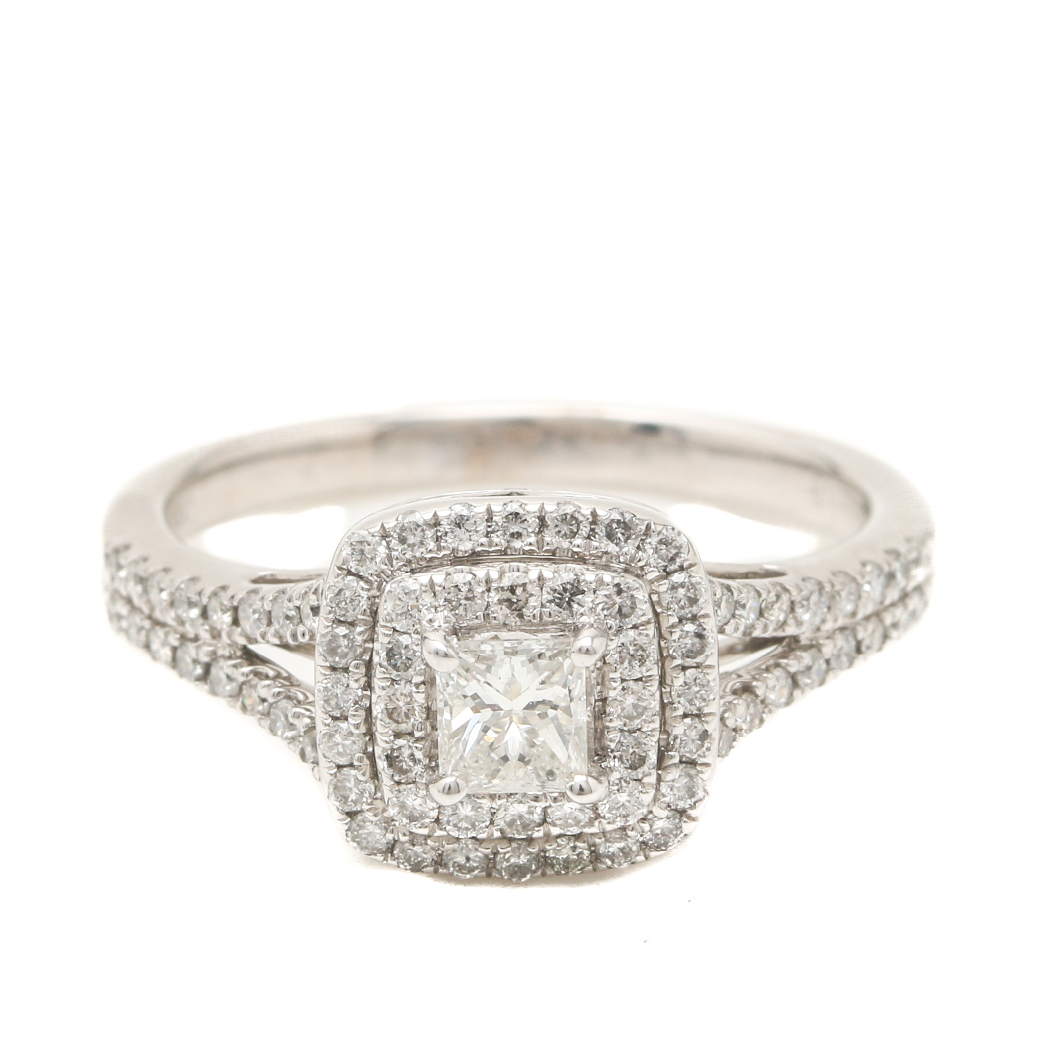 14K White Gold 1.04 CTW Diamond Ring
