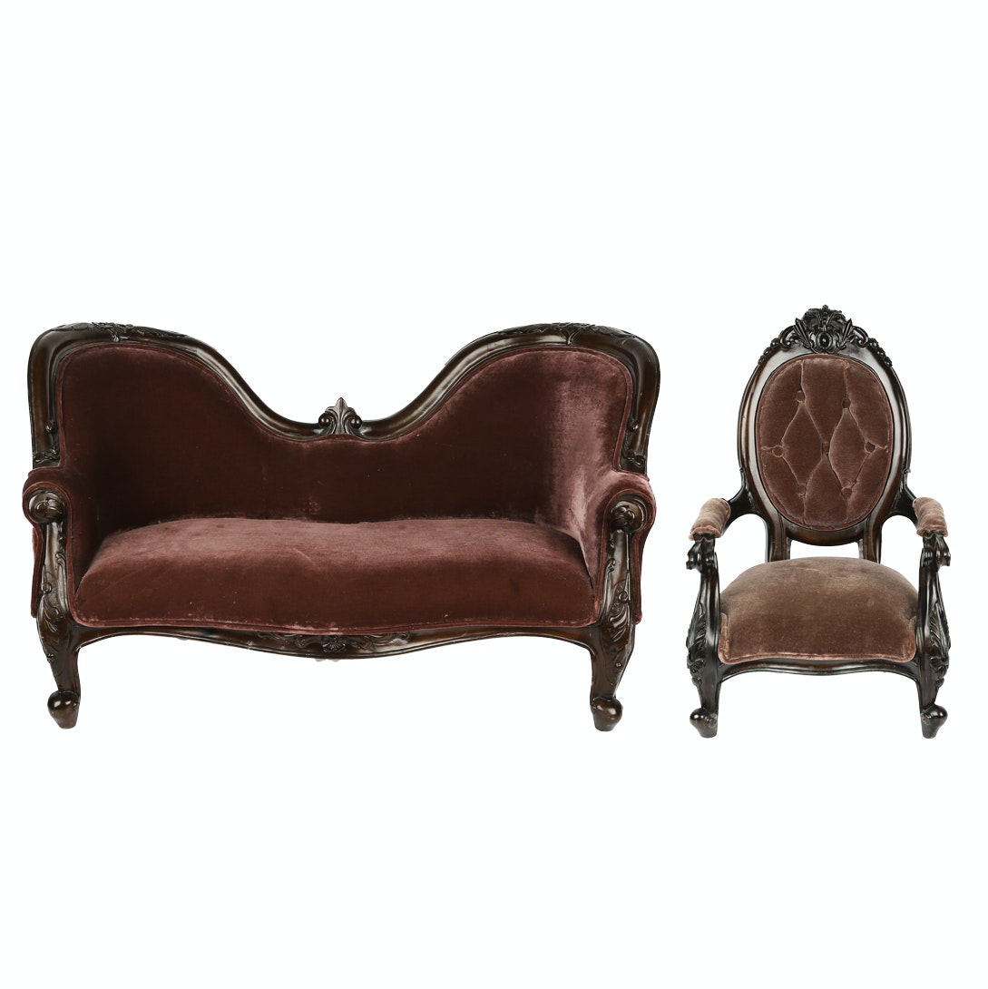 Vintage Miniature Rococo Style Settee and Chair