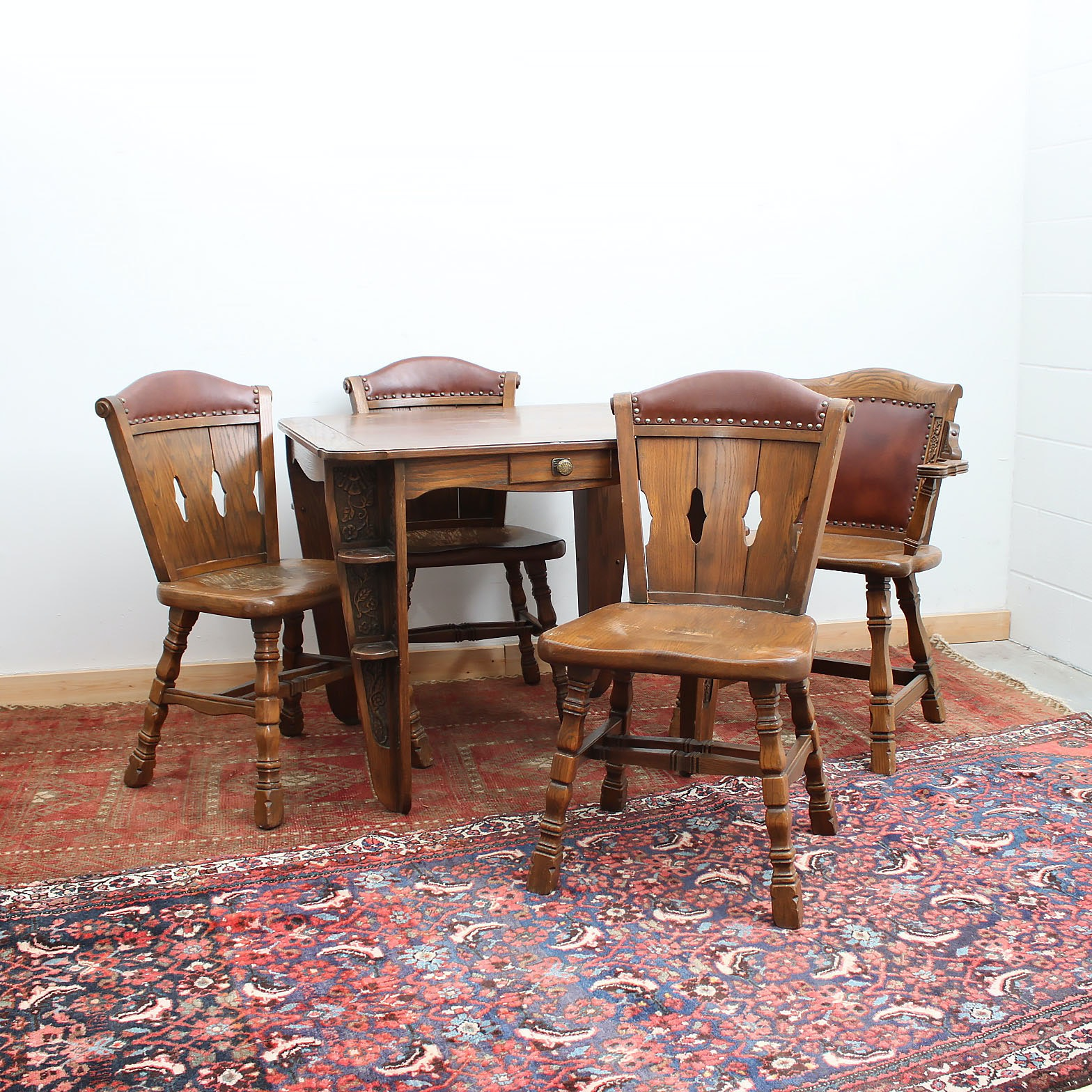 "Romweber ""Viking"" Oak Game Table and Four Chairs"