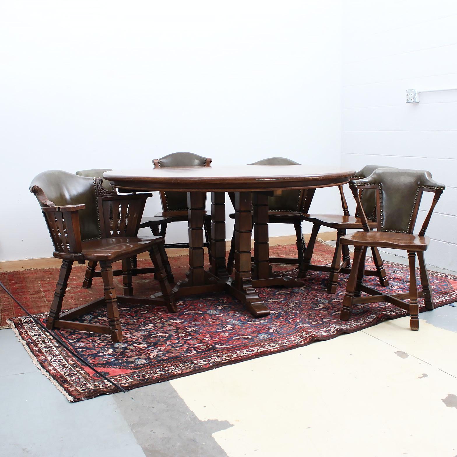 """Romweber """"Viking"""" Oak Table and Six Chairs"""