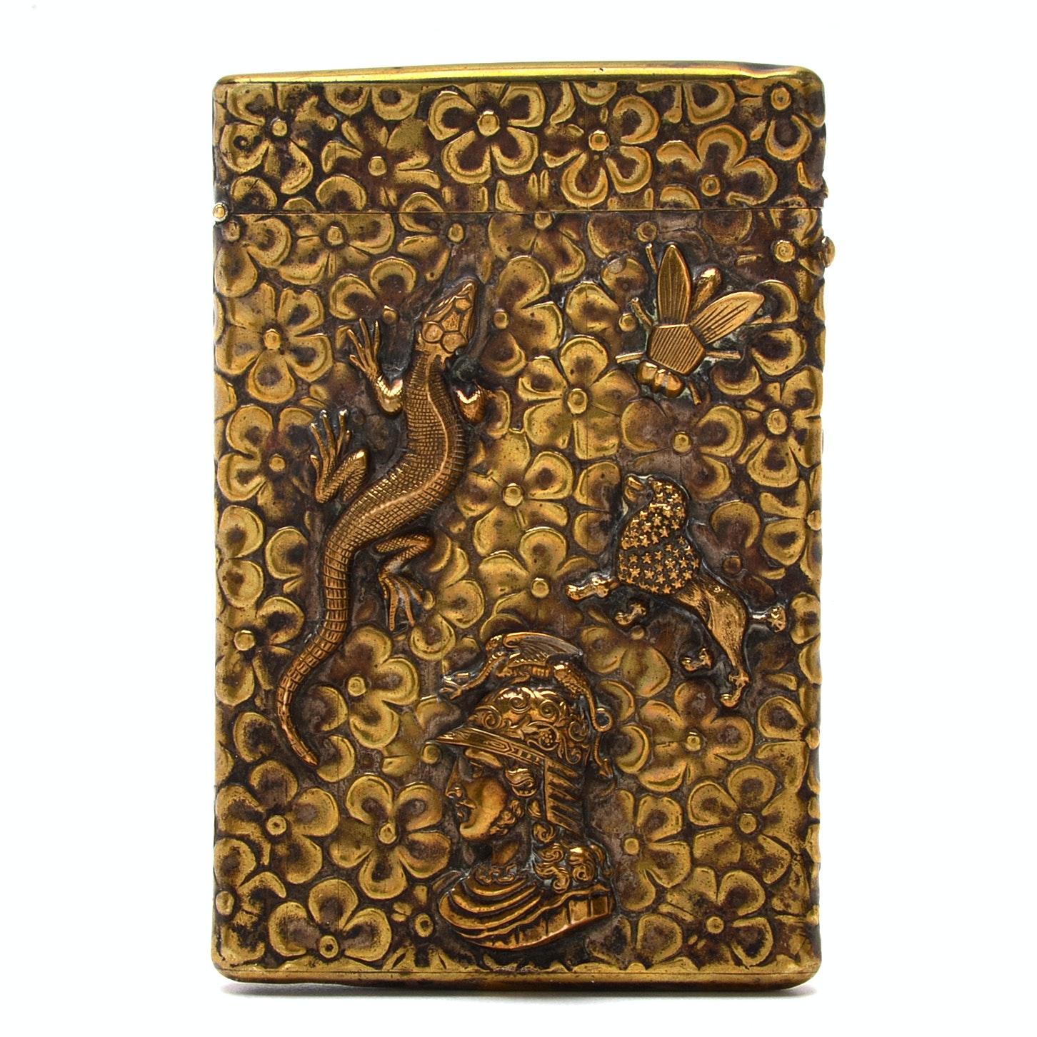 Vintage Brass Tone Embossed Hinged Card Holder