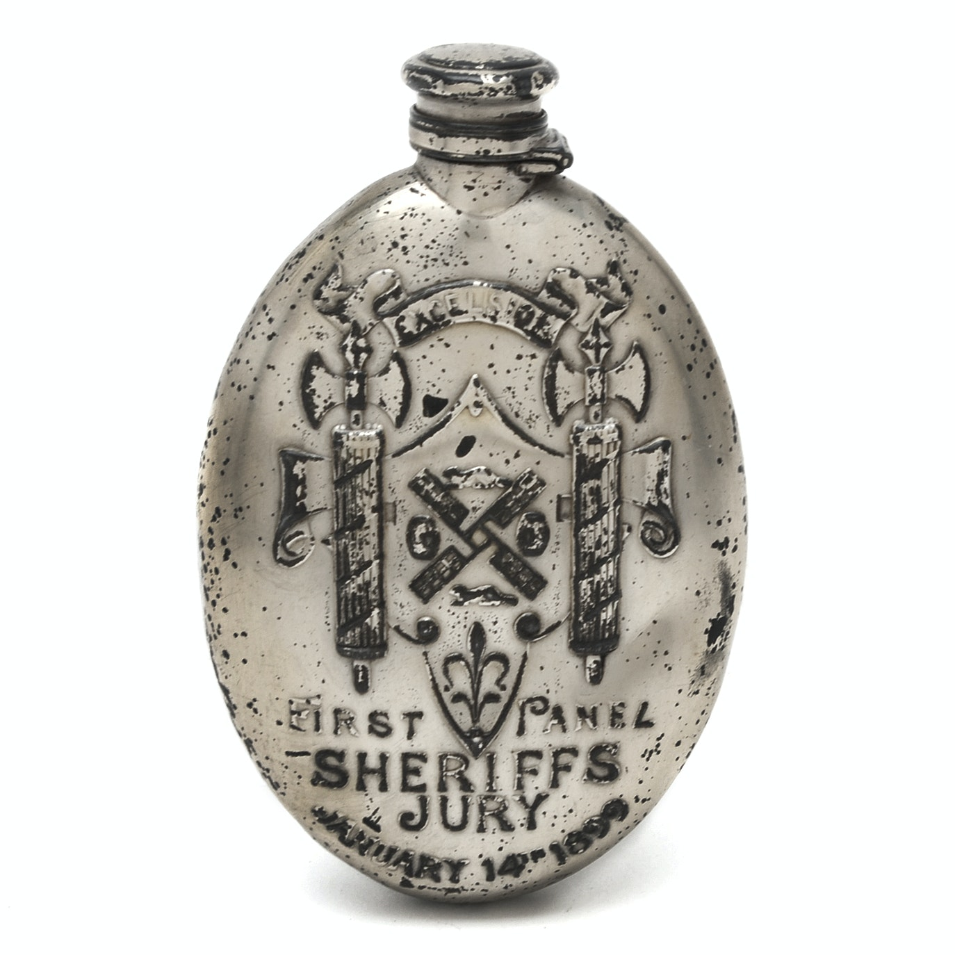 "Late 19th Century Gorham Sterling Silver ""First Panel Sheriffs Jury"" Flask"