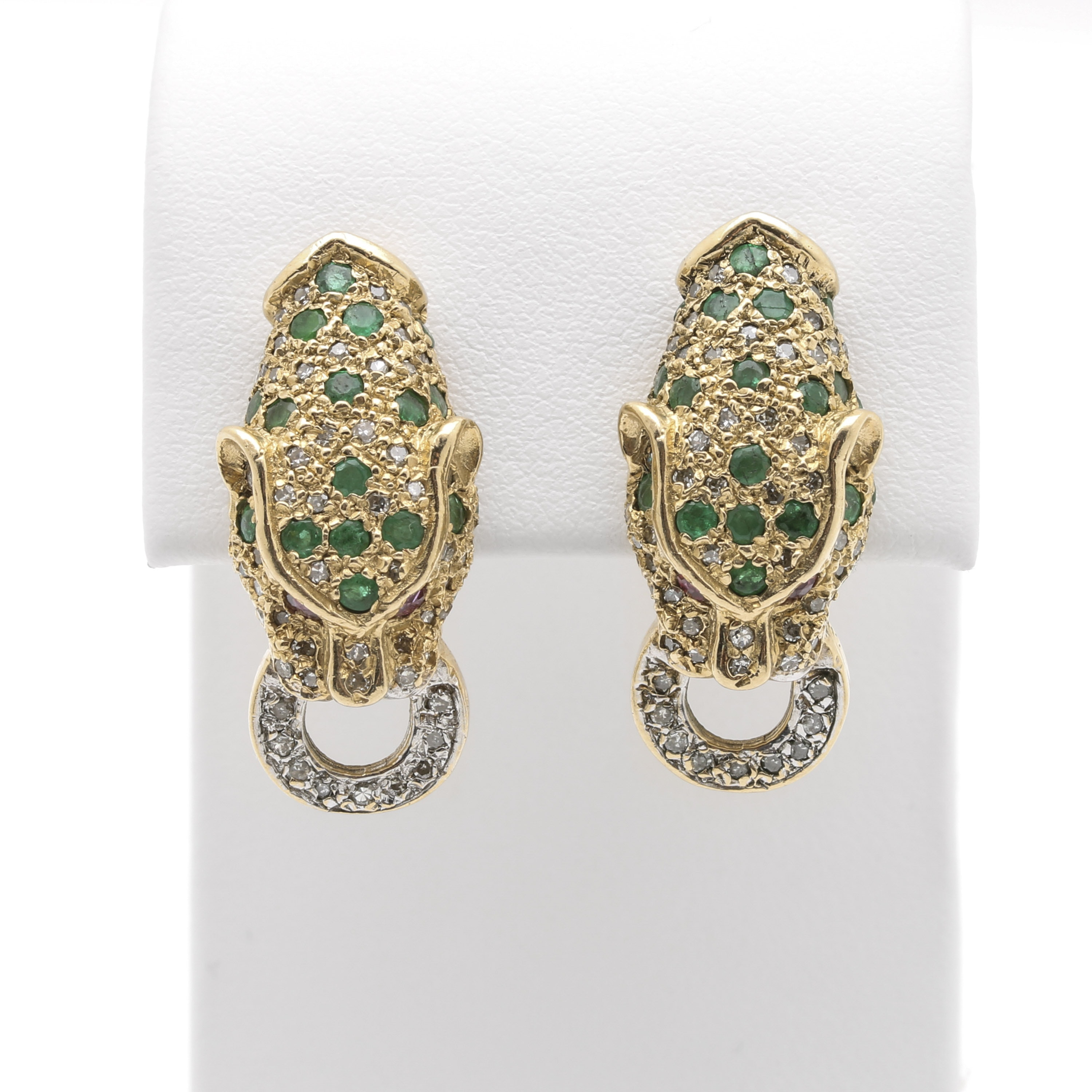 14K Yellow Gold Emerald, Ruby and Diamond Panther Earrings
