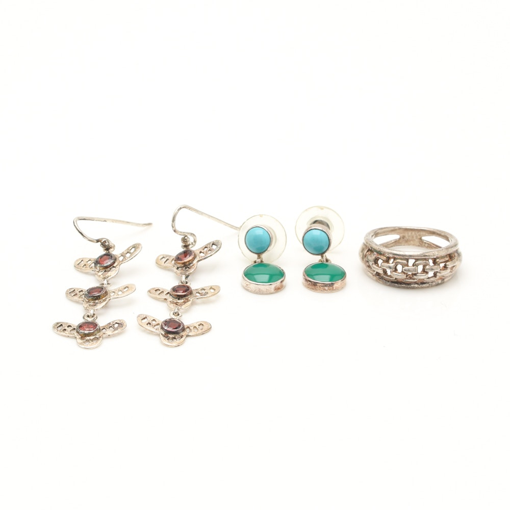 Sterling Silver Earrings and a Ring Including Bill Schiffer