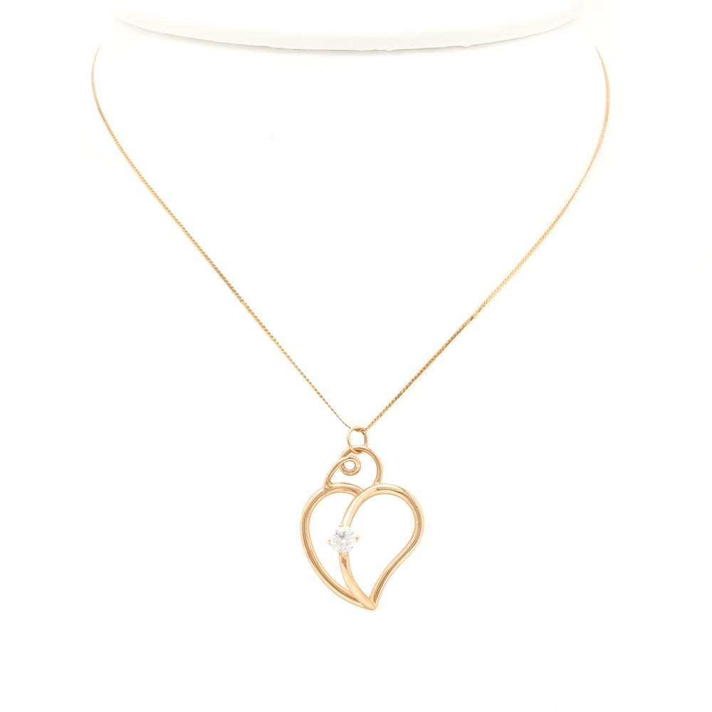 14K Yellow Gold Cubic Zirconia Openwork Heart Necklace