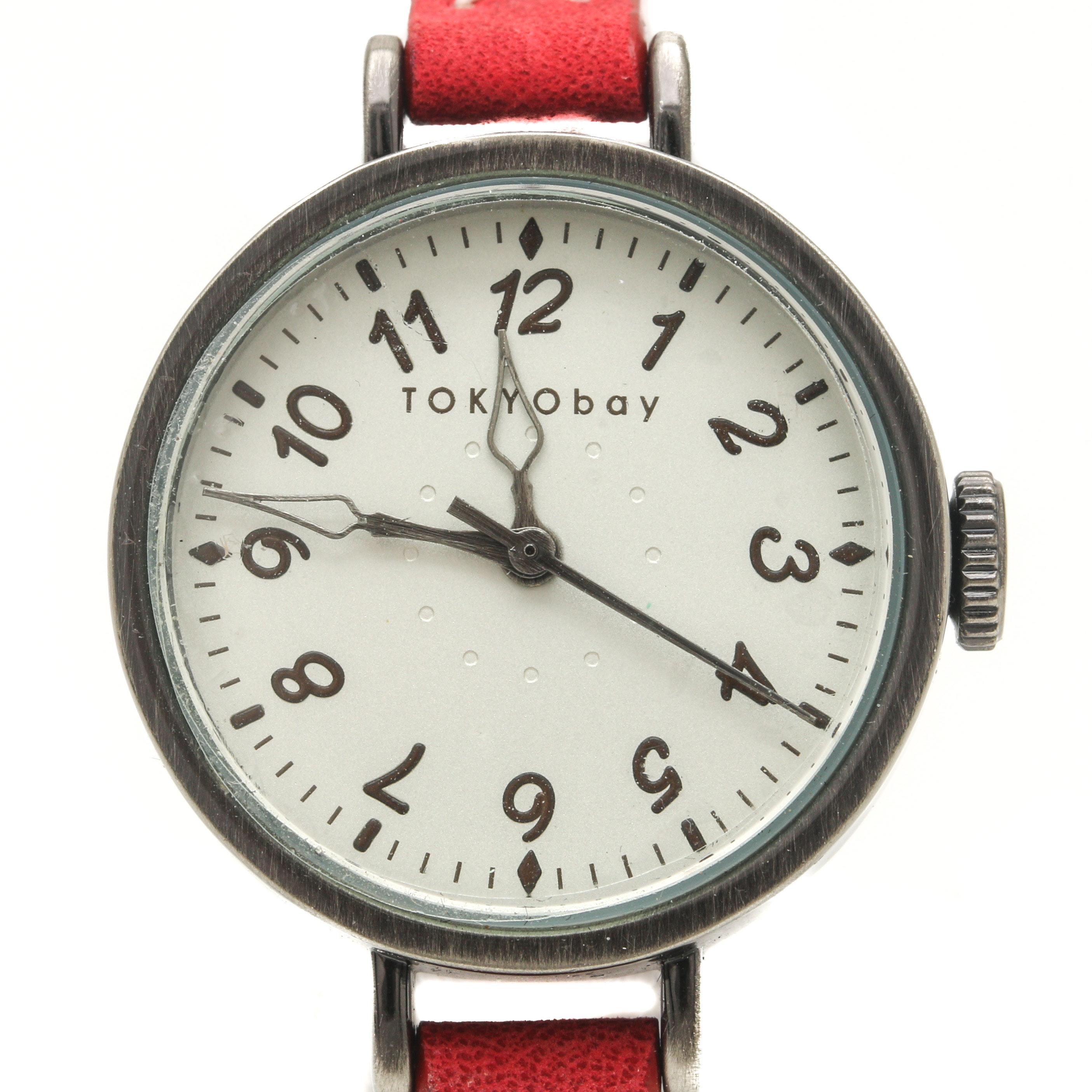 TOKYObay Stainless Steel Wristwatch With Red Leather Strap