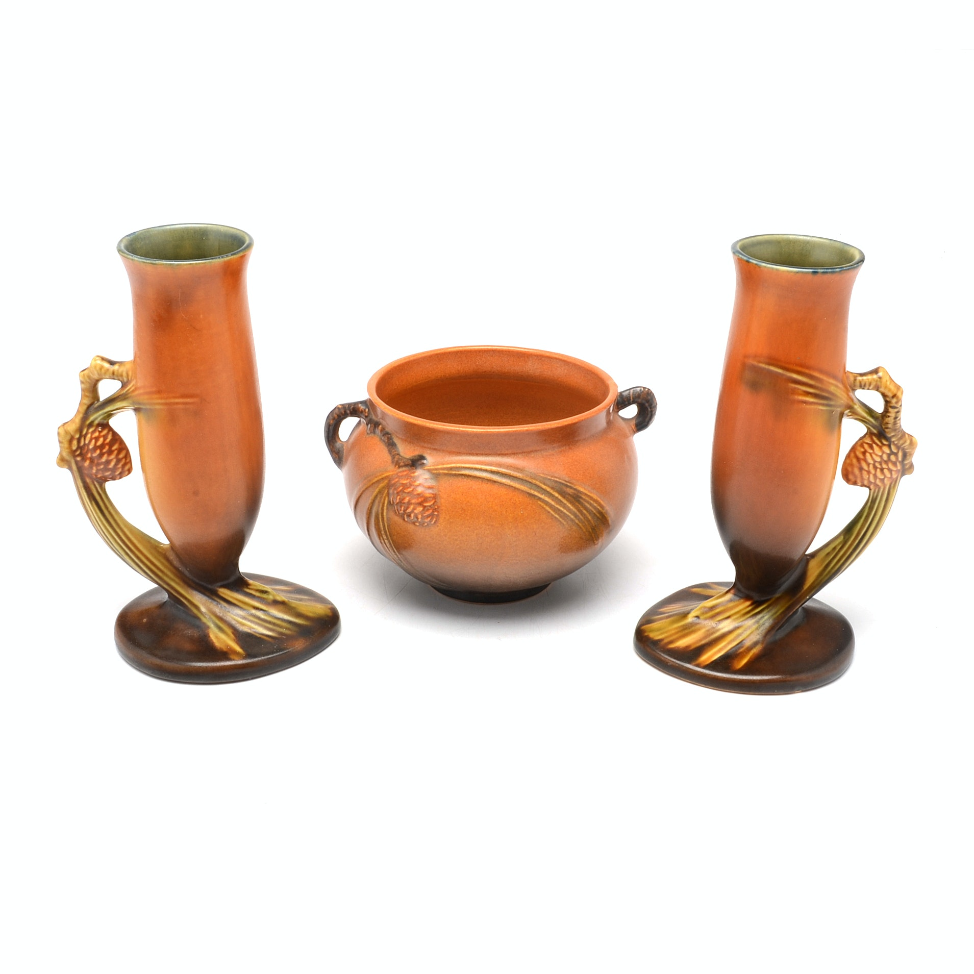 "Roseville Pottery ""Pinecone"" Vases and Jardiniere"