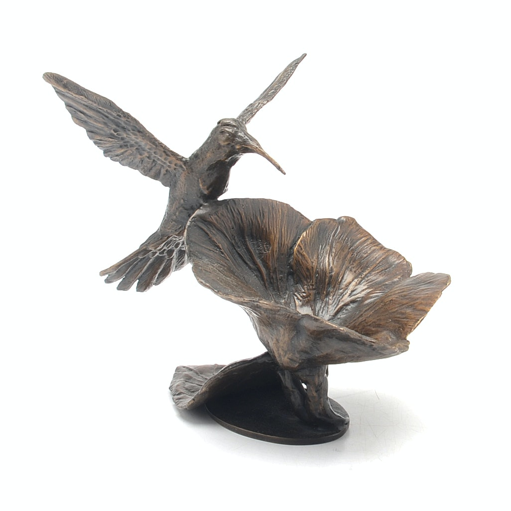 Limited Edition Bronze Hummingbird Sculpture