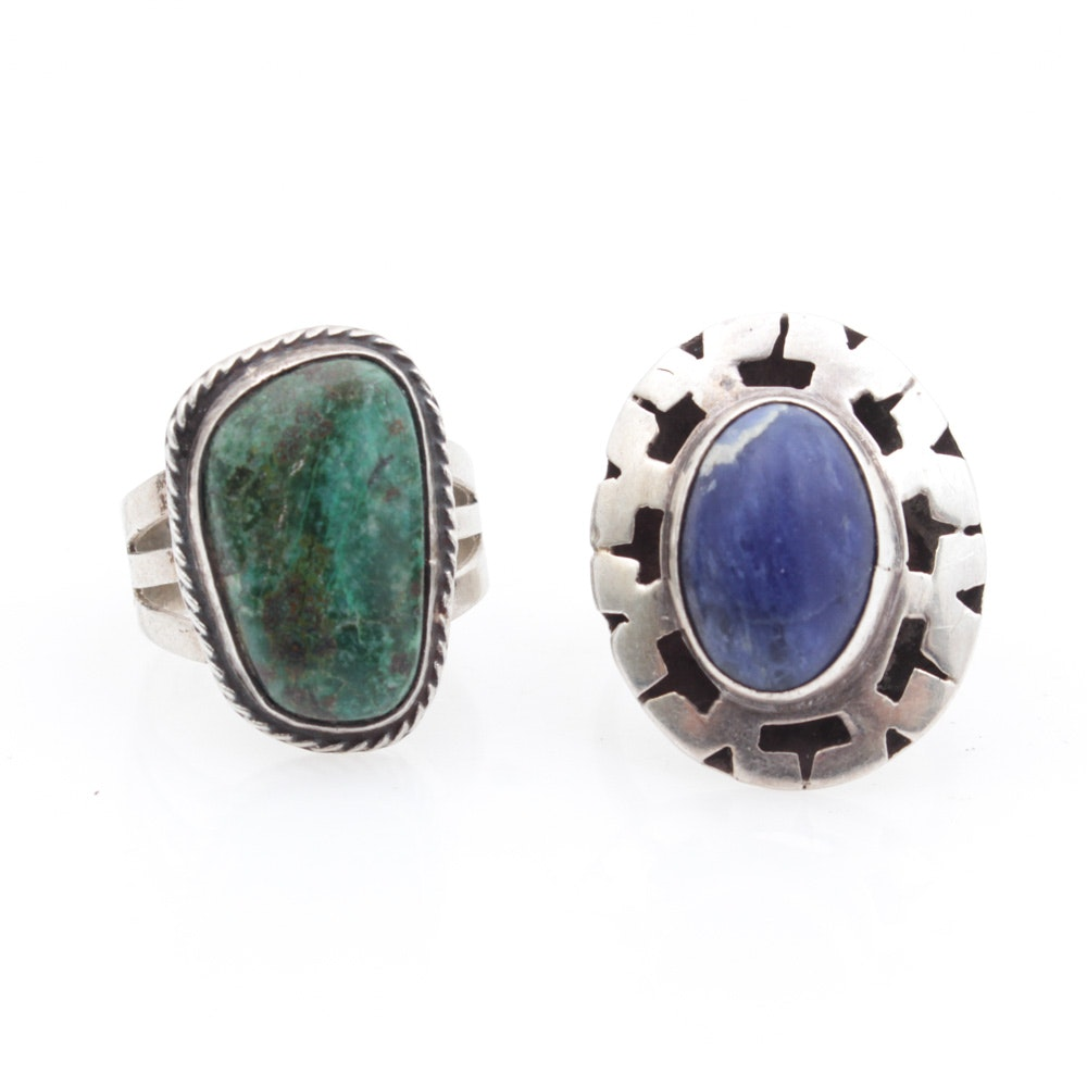 Sterling Silver Rings With Natural Gemstones