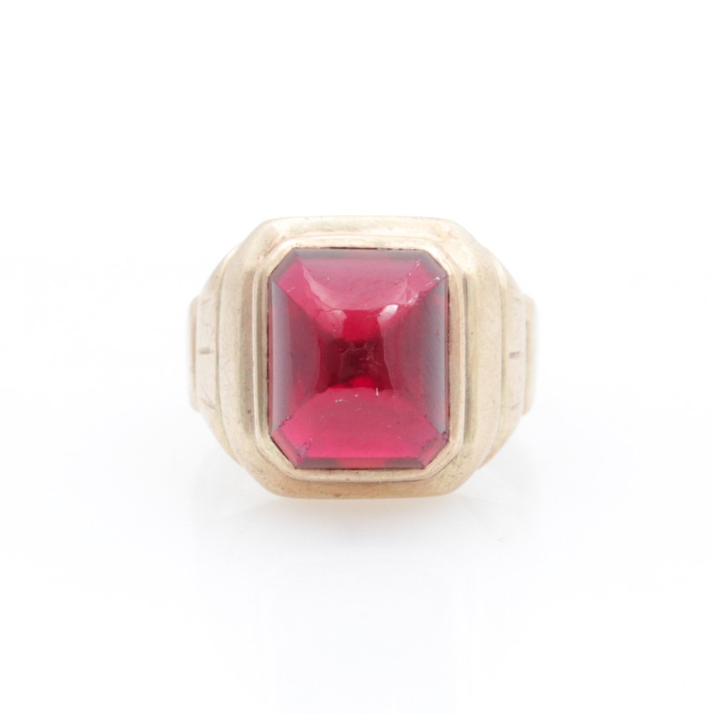 10K Yellow Gold and Synthetic Ruby Ring