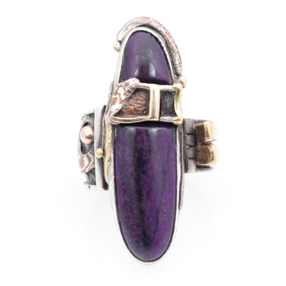 Sterling Silver 14K Yellow Gold and Natural Charoite Ring