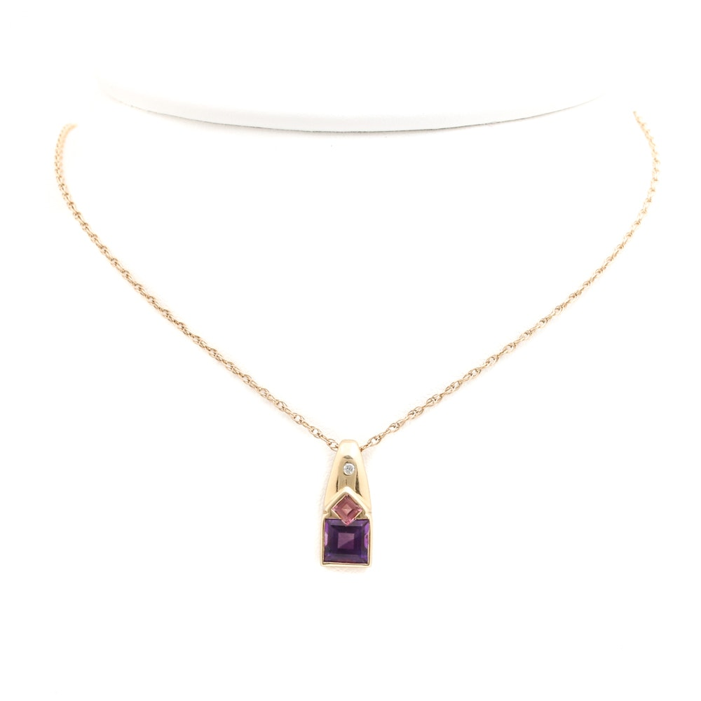 14K Yellow Gold Gemstone and Diamond Pendant Necklace