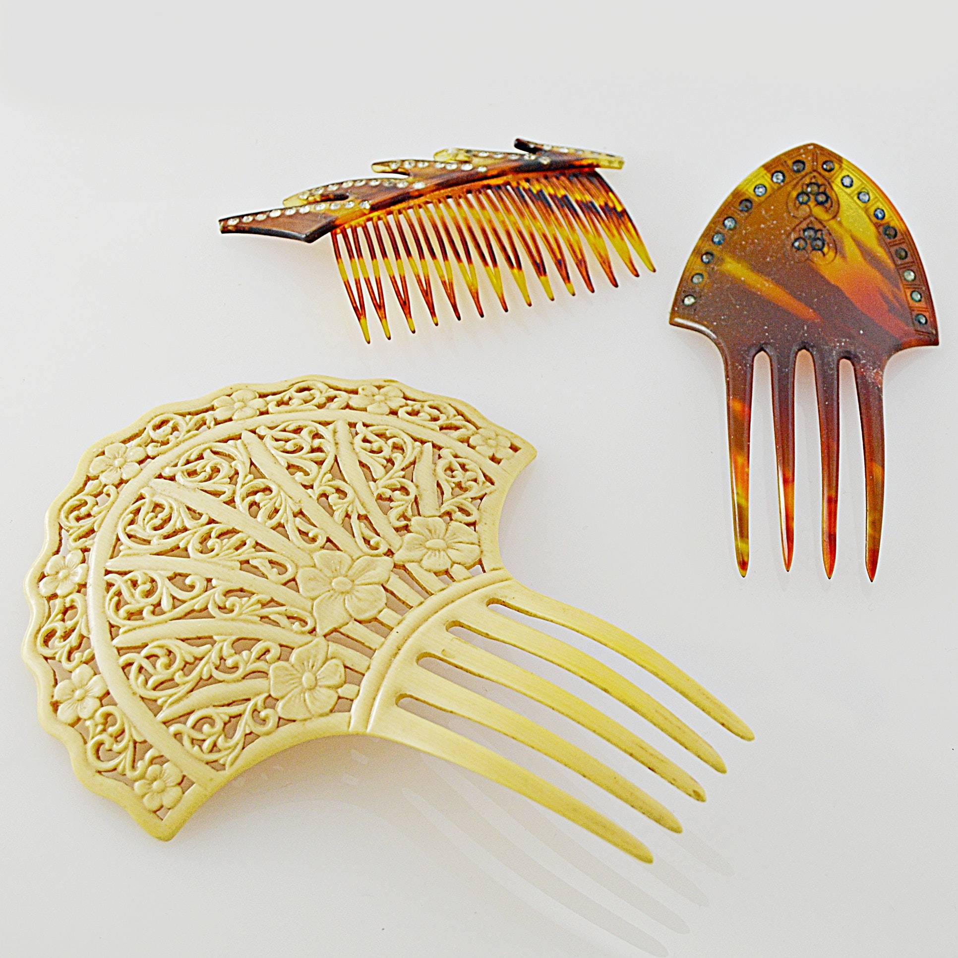 Art Nouveau and Art Deco Celluloid Hair Combs