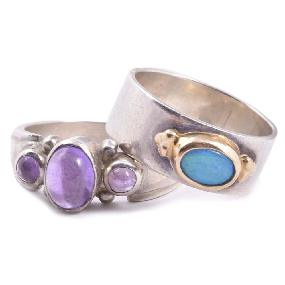 14K Yellow Gold and Sterling Silver Ring and Sterling Silver Amethyst Ring