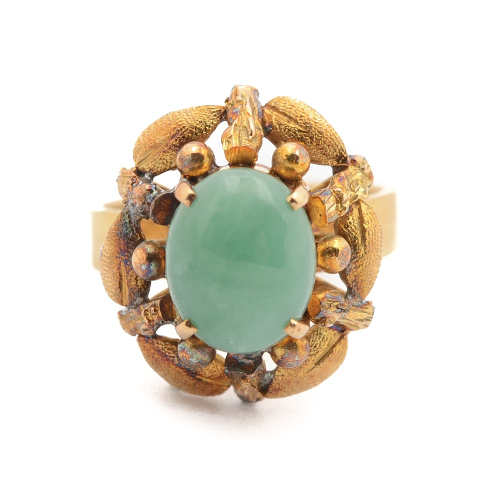 14K Yellow Gold Oval Nephrite Cabochon Ring