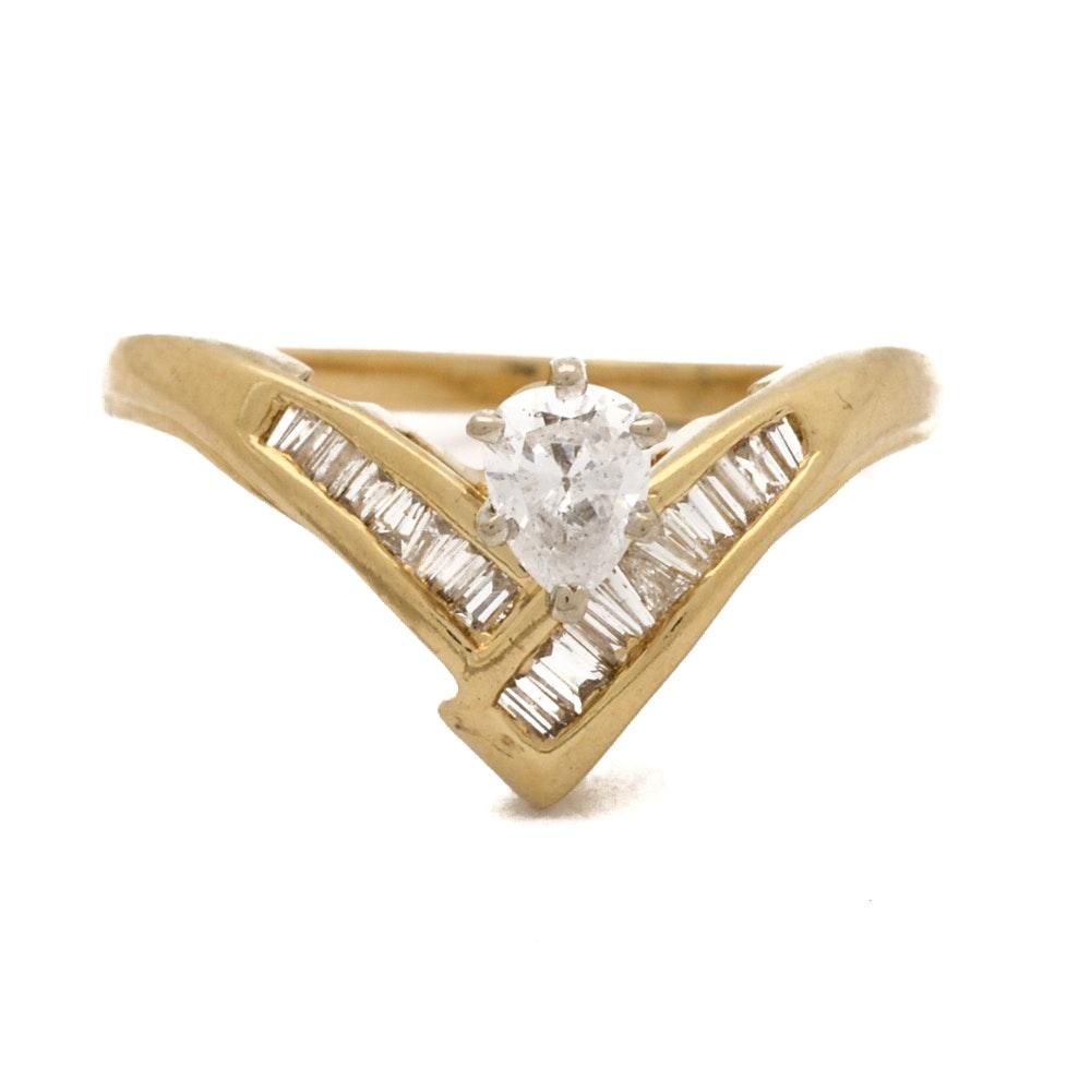 14K Yellow Gold Pear Cut Diamond Ring