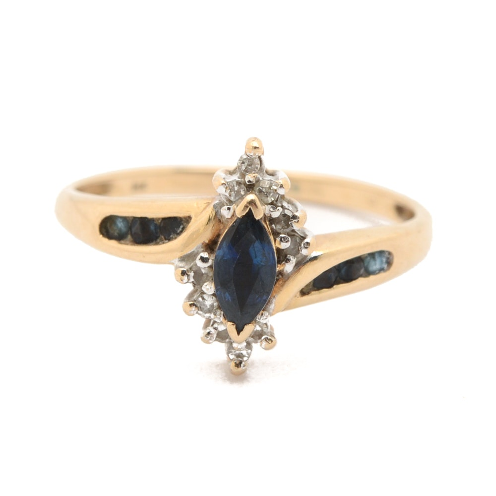 14K Yellow Gold Marquise Sapphire and Diamond Bypass Ring