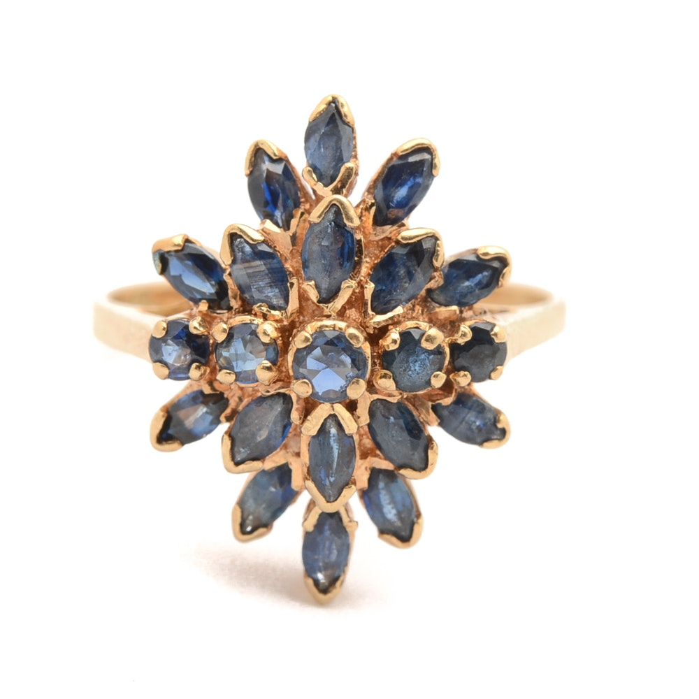14K Yellow Gold Blue Sapphire Cluster Ring