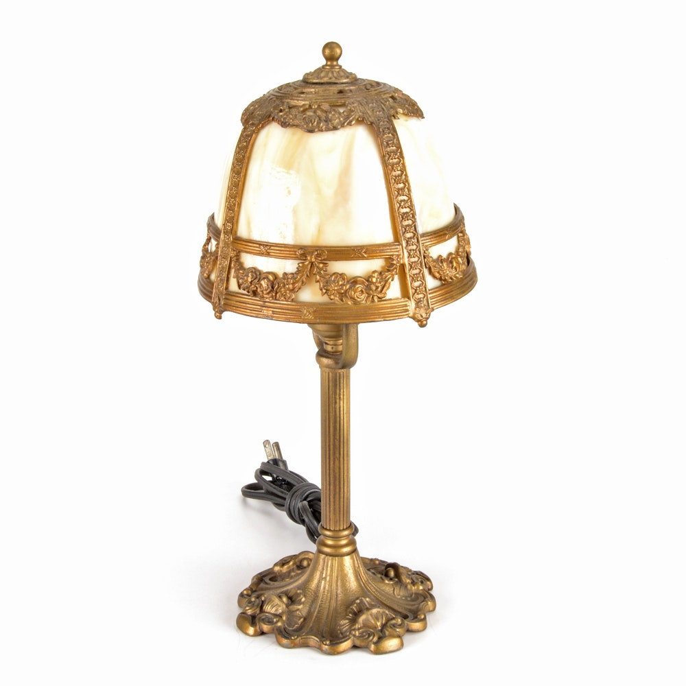 Antique Miller Lamp Company Slag Glass Boudoir Lamp