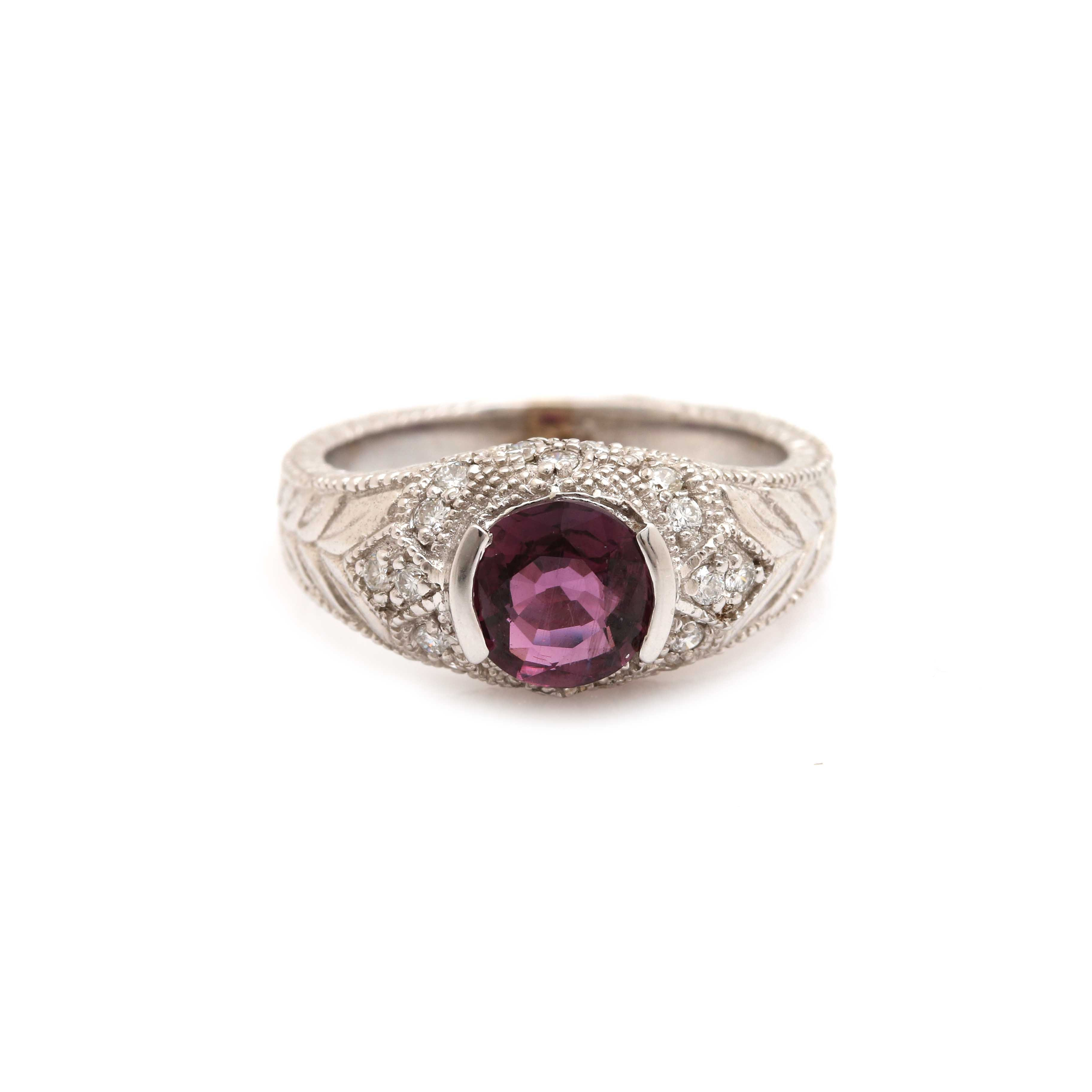 14K White Gold Purple Sapphire and 1.40 CTW Diamond Ring
