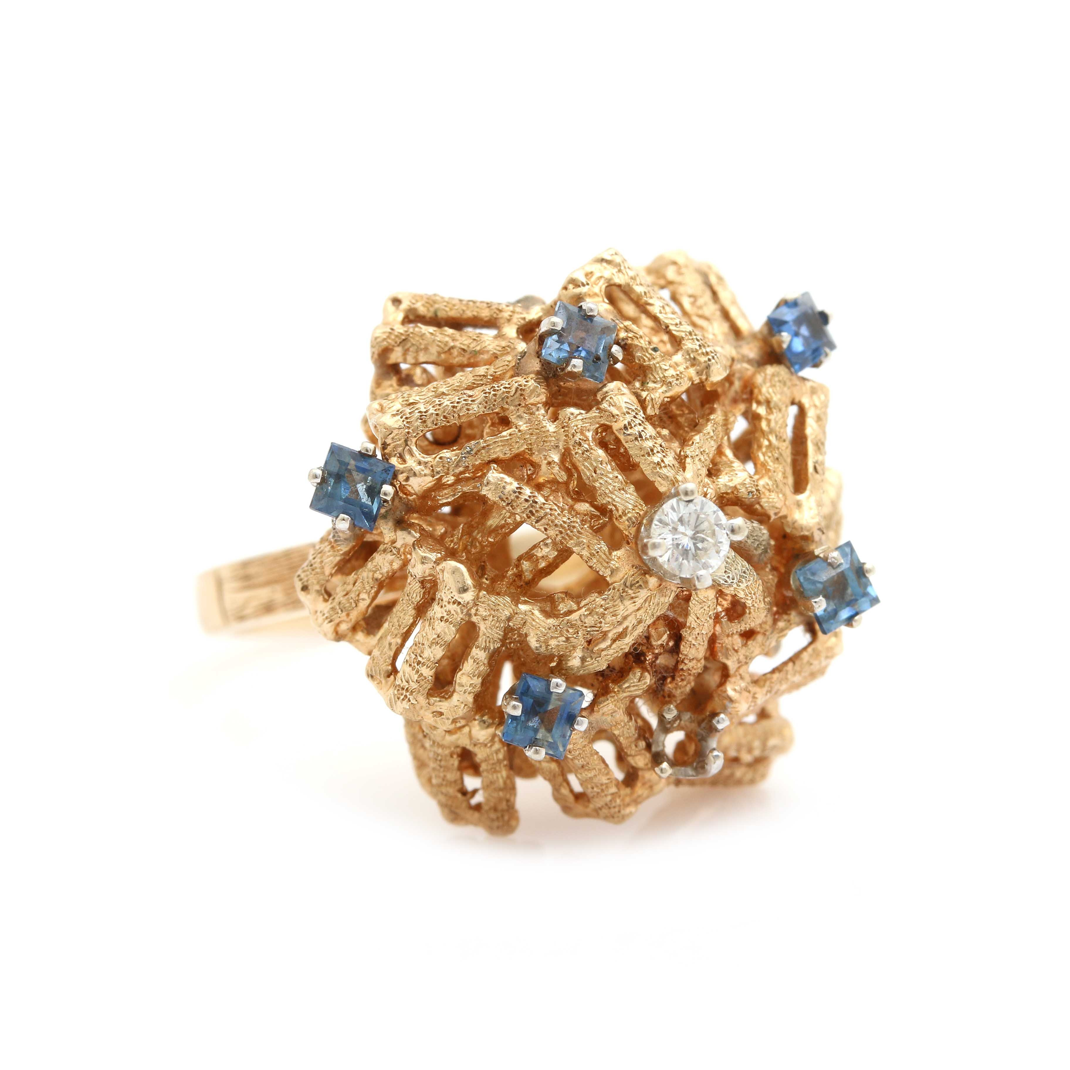 14K Yellow Gold Diamond and Blue Sapphire Dome Style Ring