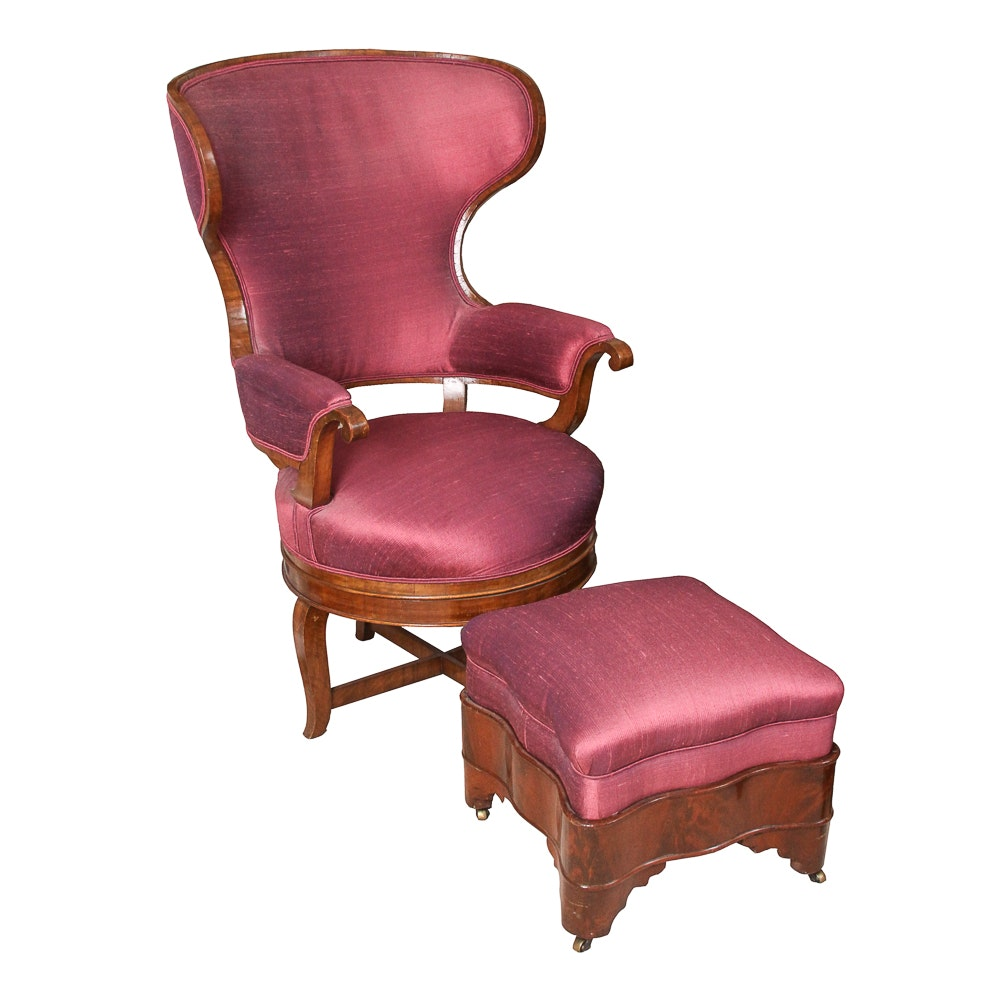 Antique Biedermeier Wingback Swivel Armchair and Footstool