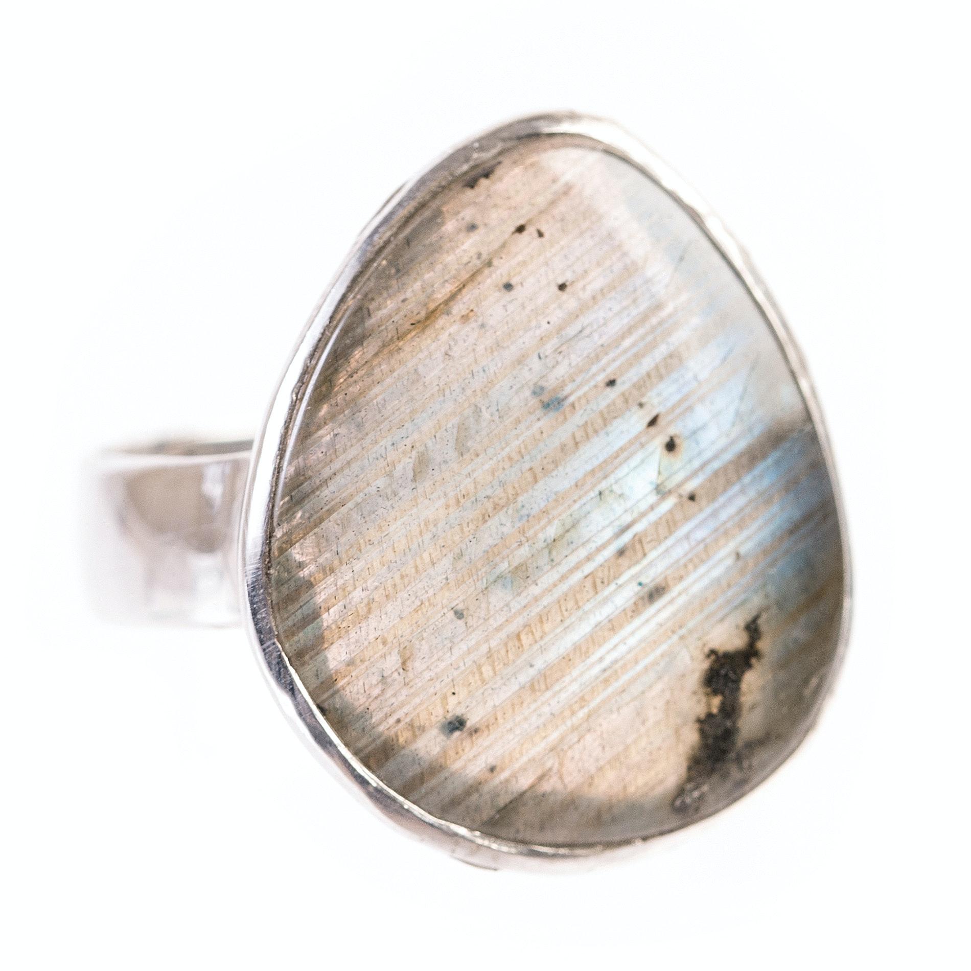 Sterling Silver and Bezel Set Labradorite Ring