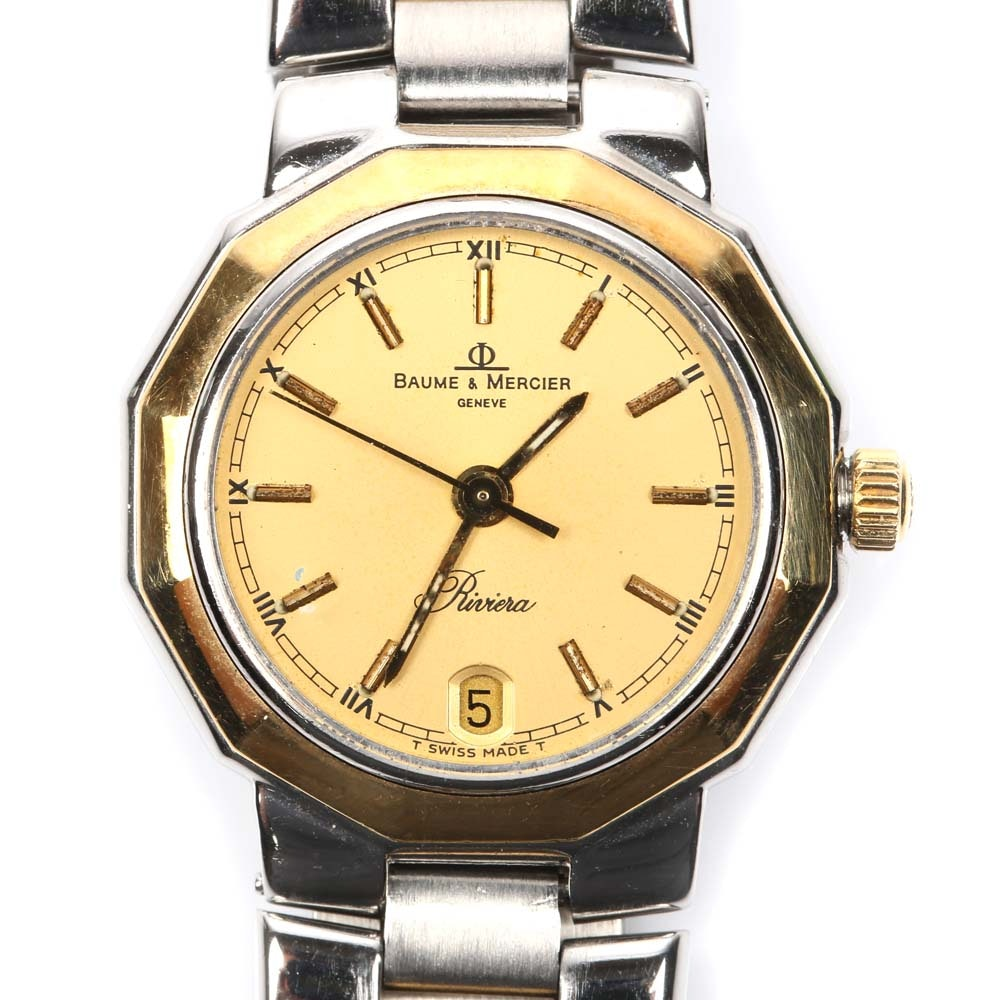 """Baume & Mercier """"Riviera"""" Stainless Steel and 18K Yellow Gold Plated Wristwatch"""