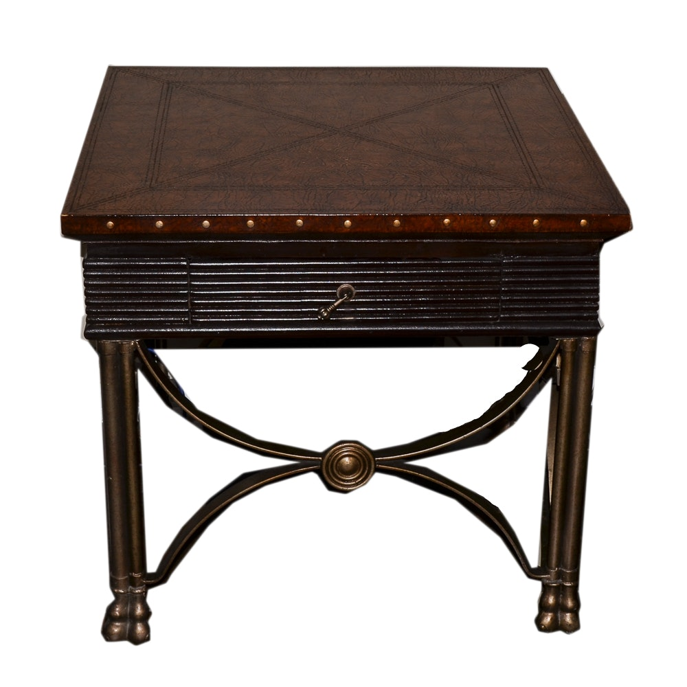 Faux Leather Top End Table