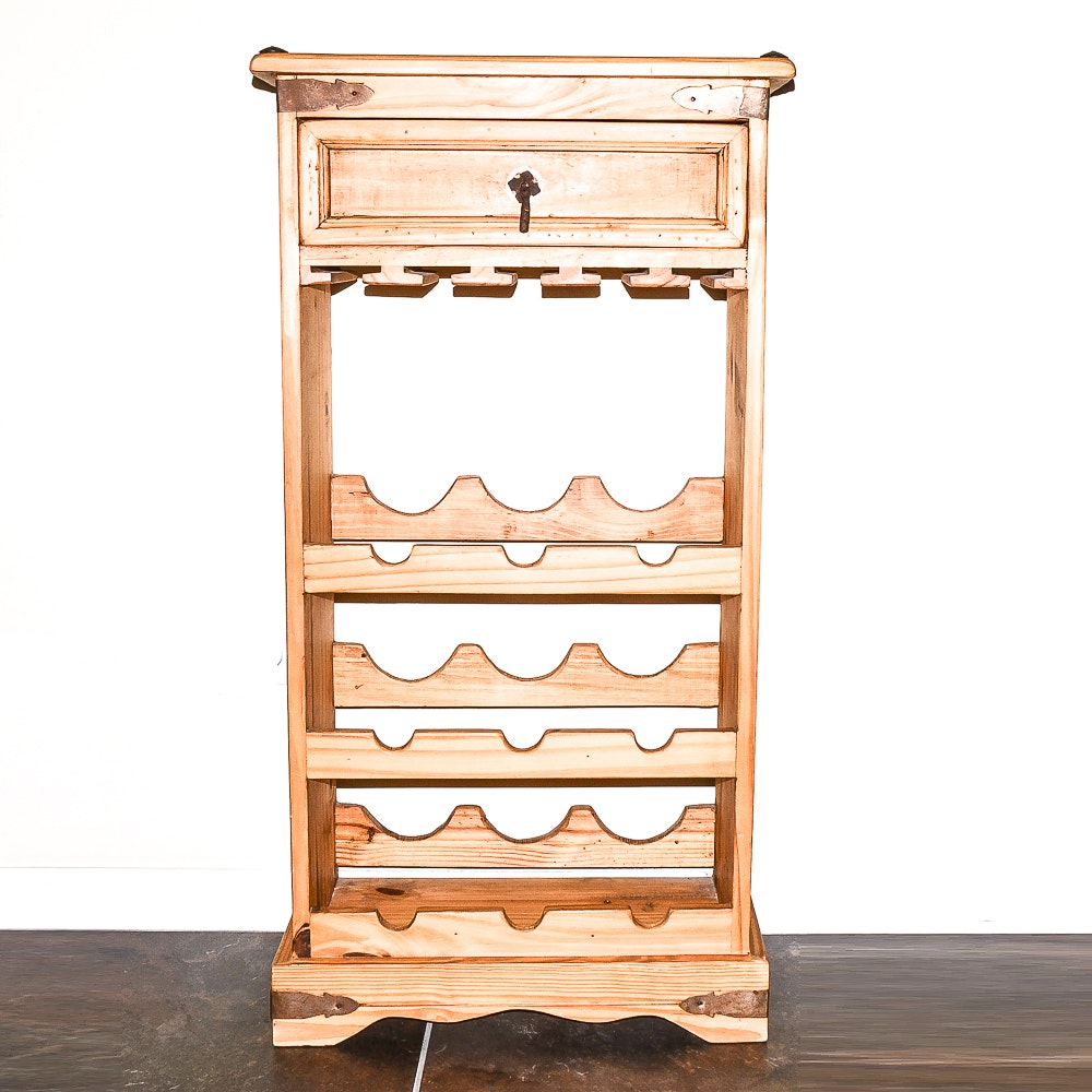 Hand-Crafted Pine Wine Cabinet