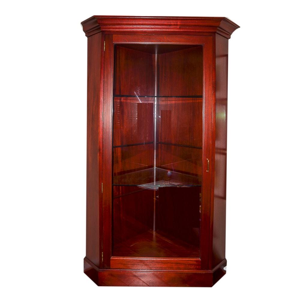 Cherry Stained Illuminated Wood Corner Display Cabinet