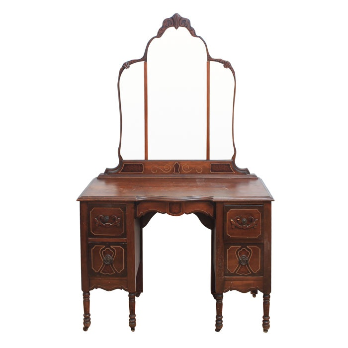Vintage Jacobean Style Walnut Vanity by Welch Furniture Company