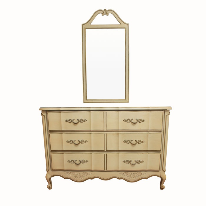 Vintage French Provincial Style Dresser with Mirror by American of Martinsville