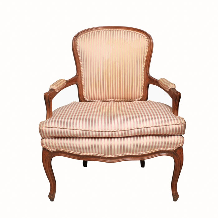 Vintage Louis XV Style Upholstered Armchair
