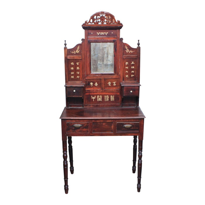 Antique Chinese Dressing Table with Bone Inlay