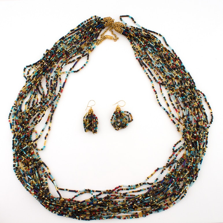 Contemporary Glass Seed and Bugle Bead Torsade Necklace and Earring Set