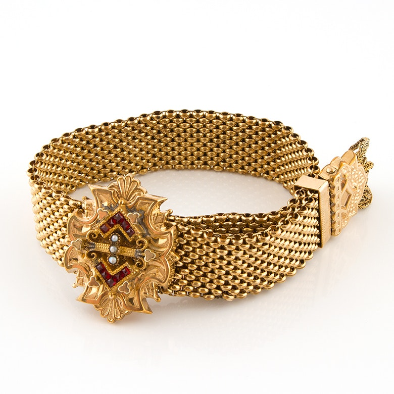 Antique Gold Tone Mesh Buckle Bracelet with French Cut Glass and Seeded Pearls