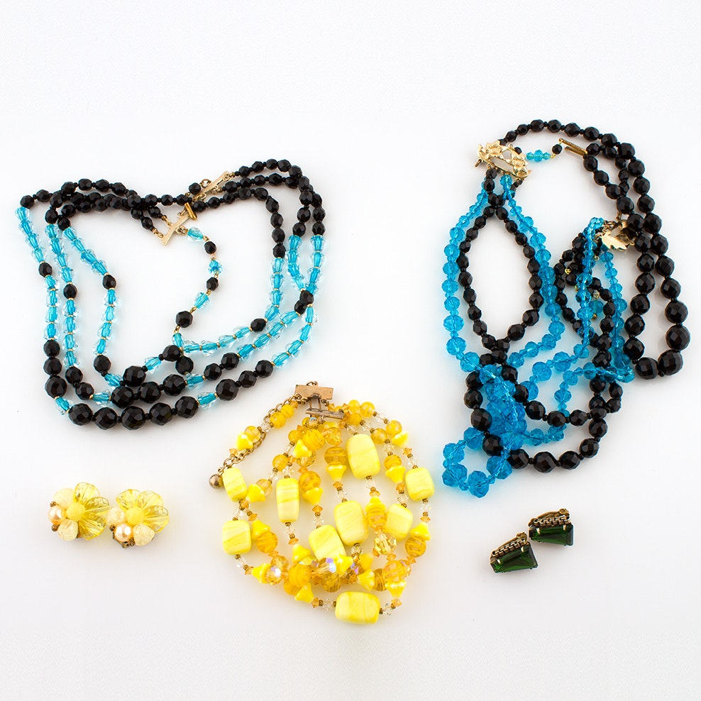 Glass Beaded Jewelry and Earrings from Western Germany, Circa 1950s