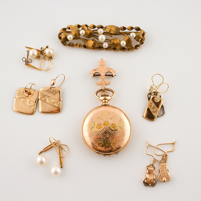 Victorian and Transitional Gold Tone Jewelry
