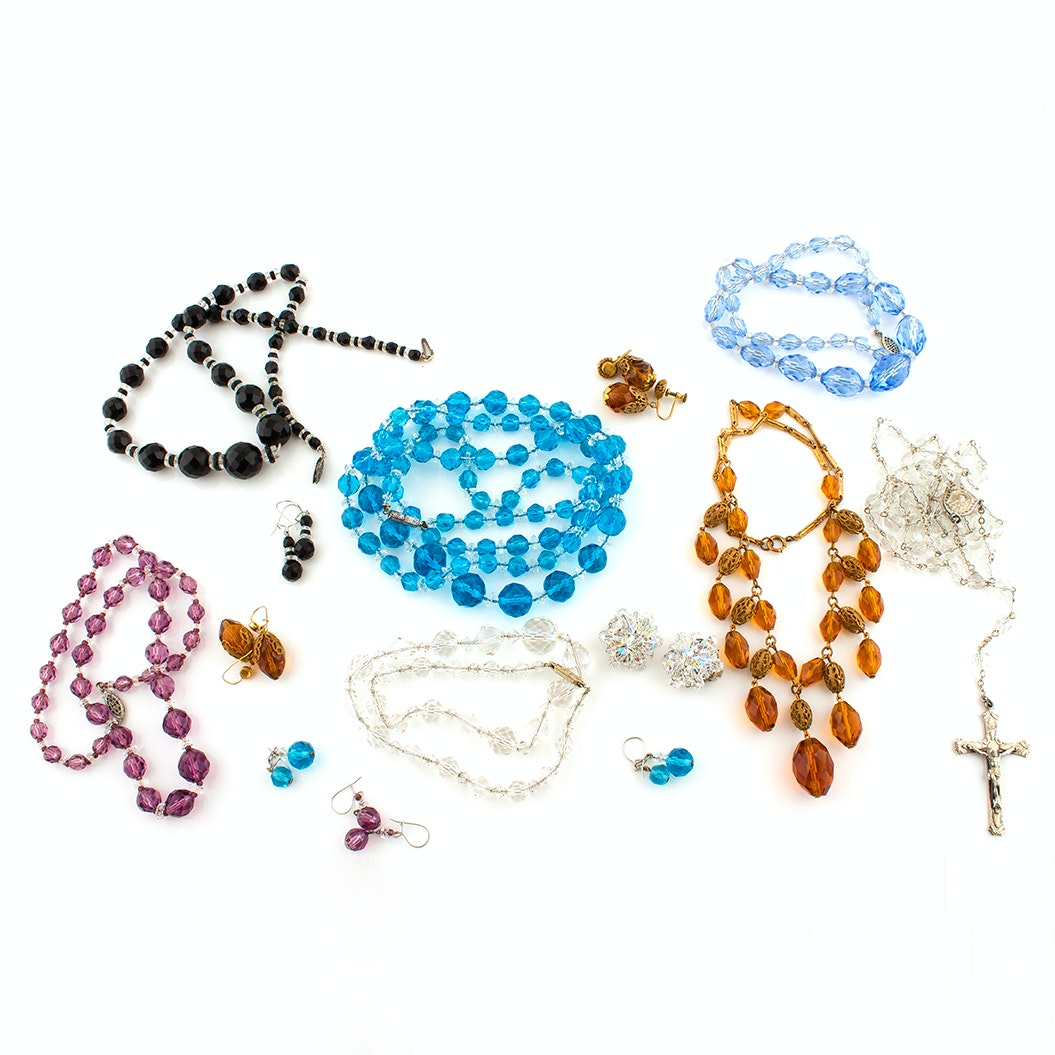 Sterling Glass Beaded Necklaces, Rosary and Silver Tone Earrings Rosary