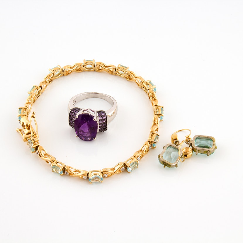 Sterling, Amethyst, Blue Topaz and Glass Jewelry