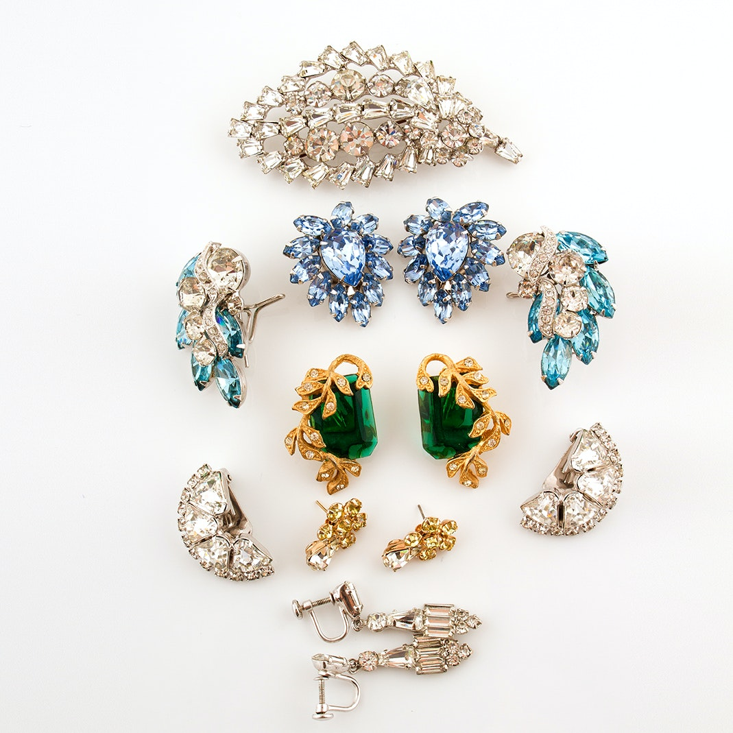 Vintage Rhinestone Earrings and Brooch, Circa 1950s