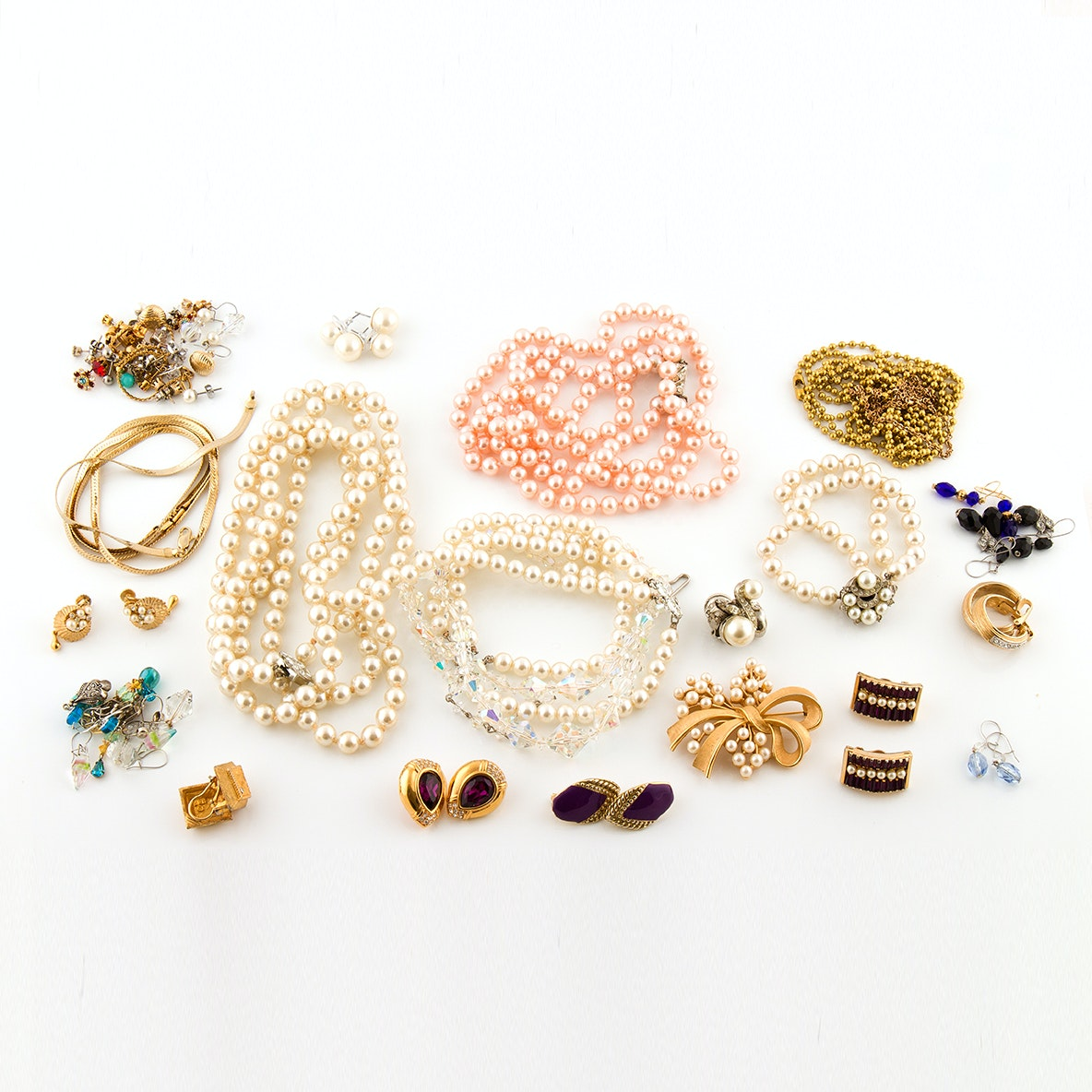 Vintage Imitation Pearl and Rhinestone Jewelry Featuring Crown Trifari