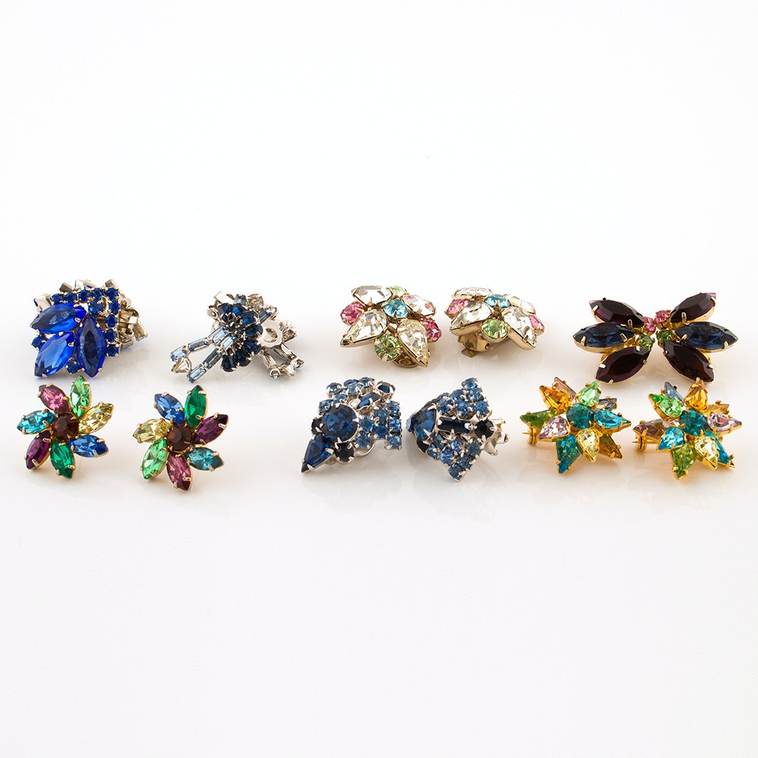 Vintage Multi-Rhinestone Earrings and Brooches