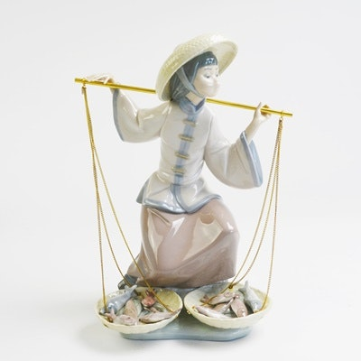 "Lladró ""Chinese In the Market"" Porcelain Figurine"
