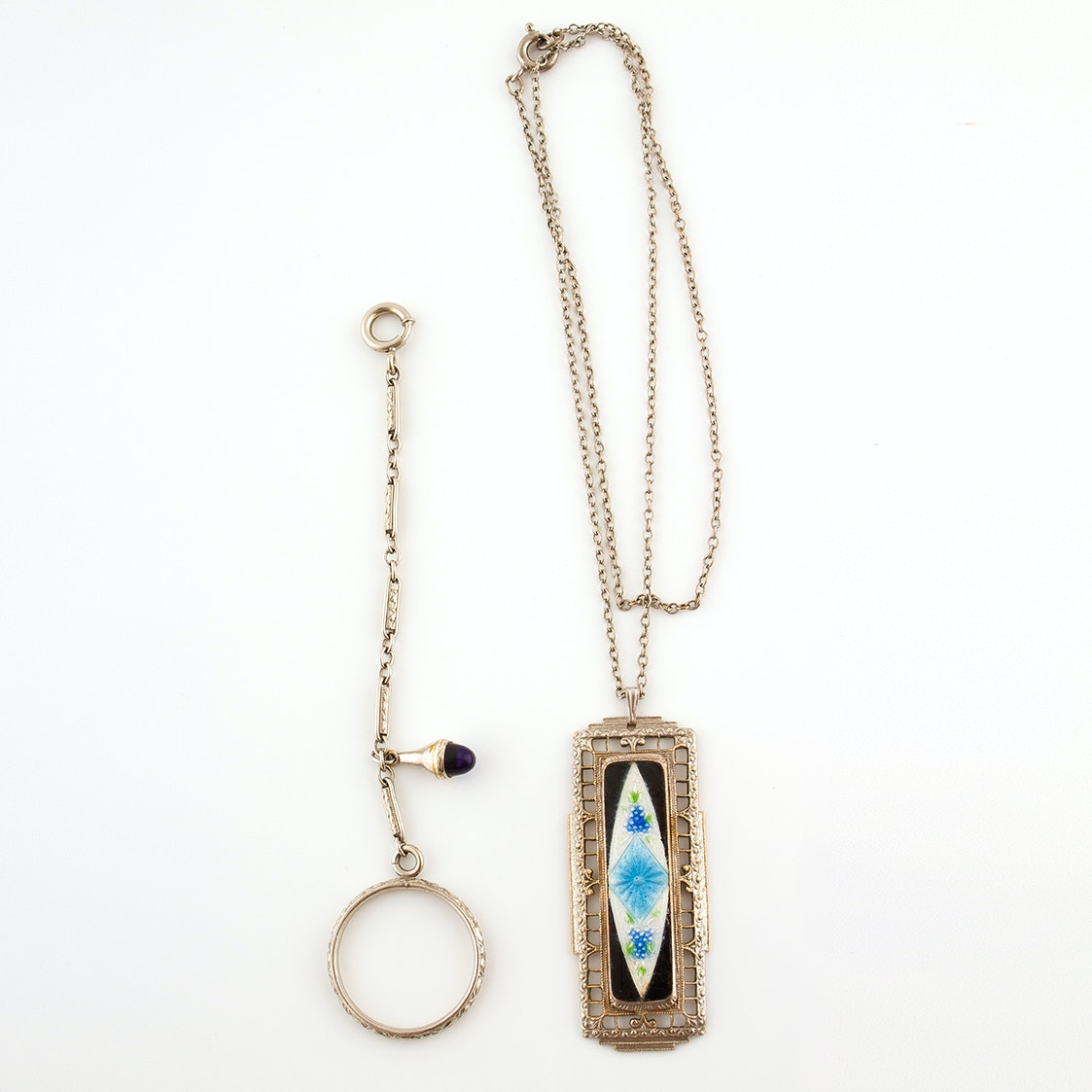 Art Deco Pendant Necklace with Basse-Taille Enamel and Hanky Ring, Circa 1890s