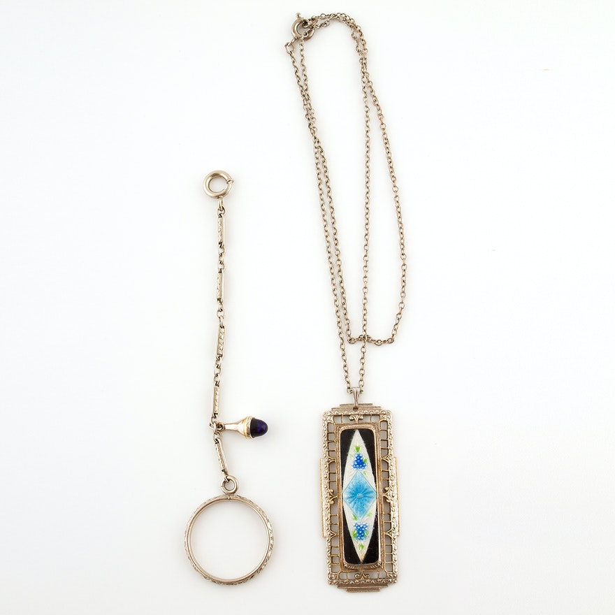 Art deco pendant necklace with basse taille enamel and hanky ring art deco pendant necklace with basse taille enamel and hanky ring circa 1890s mozeypictures Image collections