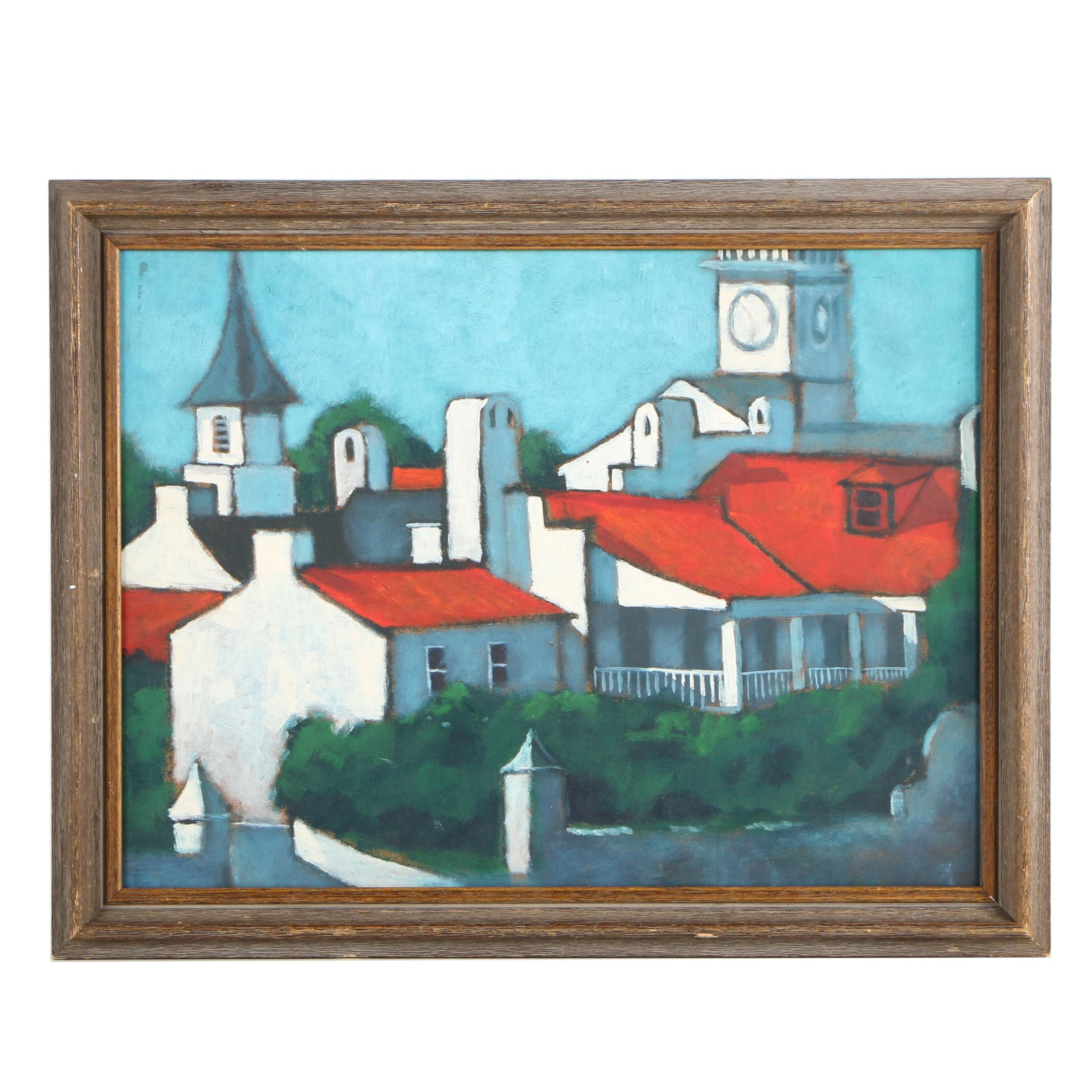 Vernon Rader Oil on Board Townscape Painting