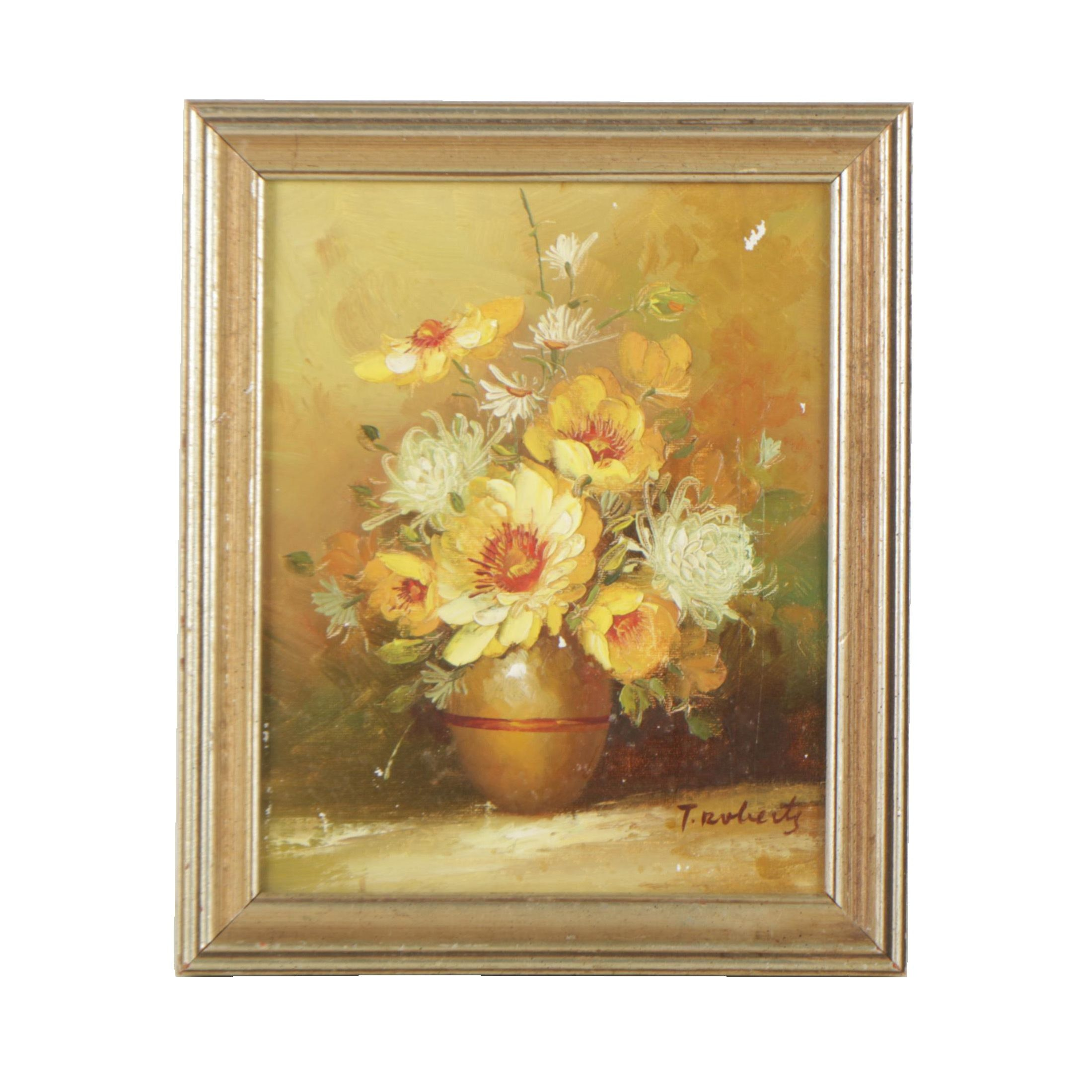 T. Roberts Floral Still Life Oil Painting